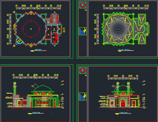 دانلود پروژه طراحی اتوکد مسجد